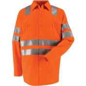 """Red Kap® Hi-Vis Long Sleeve Work Shirt, Class 3, """"X"""" Striping, Fluorescent Orange, Regular, M"""