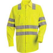 """Red Kap® Hi-Vis Long Sleeve Work Shirt, Class 3, """"X"""" Striping, Fluorescent Yellow, Regular, 3XL"""