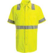 Red Kap® Hi-Vis Short Sleeve Work Shirt, Class 2, Fluorescent Yellow/Green, Tall, 2XL