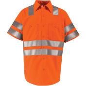 Red Kap® Hi-Vis Short Sleeve Work Shirt, Class 3, Fluorescent Orange, Tall, 2XL