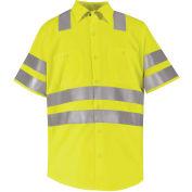 """Red Kap® Hi-Vis Short Sleeve Work Shirt, Class 3,""""X"""" Striping, Fluorescent Yellow, Regular 4XL"""