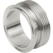 VNE EG17TR1.5 3A Series 1-1/2 Adapter, 304/T316L Stainless, Clamp x Thread Bevel