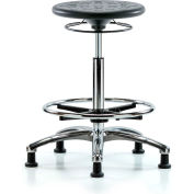 Blue Ridge Ergonomics™ Cleanroom Stool with Glides and Footring - High Bench Height - Black