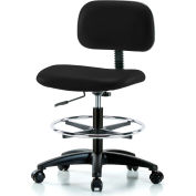 Multi-Purpose Industrial Stool with New Voyager™ Vinyl - With Chrome Foot Ring - Black