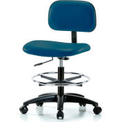 Multi-Purpose Industrial Stool with New Voyager™ Vinyl - With Chrome Foot Ring - Paradise Blue