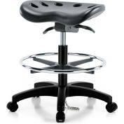 Interion® ESD Polyurethane Tractor Stool With Foot Ring & Seat Tilt - Black w/ Black Base