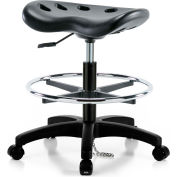 Interion® ESD Polyurethane Tractor Stool With Foot Ring - Black w/ Black Base