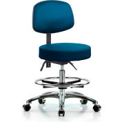 Deluxe Stool with Back - With Chrome Foot Ring - Vinyl - Marine Blue