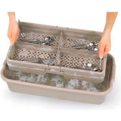 "Vollrath, Traex 4 Compartment W/ Handles & Half Tub, 1303, Beige, 24-1/2"" X 13-3/8"" X 5-1/4"""