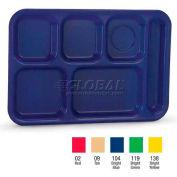 Vollrath, Traex Polypropylene School Compartment Trays, 2015-104, Right Hand Tray, Bright Blue - Pkg Qty 24