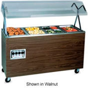4 Well Hot Food Station with Closed Storage and Lights - Black