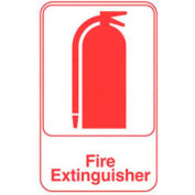 """Vollrath, Fire Extinguisher Sign, 5618, White With Red Print, 6"""" X 9"""""""