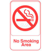 """Vollrath, No Smoking Area Sign, 5643, White With Red Print, 6"""" X 9"""""""