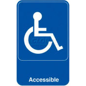 "Vollrath, Accessible Sign, 5644, Blue With White Print, 6"" X 9"""