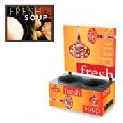Vollrath® Cayenne® 7203102, Twin Well 7 Qt. Soup Merchandisers - Menu Tuscan