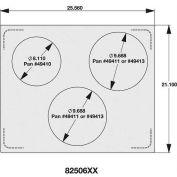 Vollrath, Miramar Cookware Double Size Template, 8250614, Three Rounds, Plain Edge