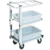 Vollrath, Cantilever Bussing Cart, 97186, 3-Shelf, Chrome
