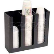 "Vertiflex Products Cup/Lid Holder, 3 Columns, 12-3/4""W x 4-1/2""D x 11-3/4""H, Black"