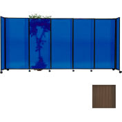 "Portable Sliding Panel Room Divider, 4'x7'2"" Polycarbonate, Bronze"