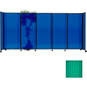 "Portable Sliding Panel Room Divider, 6'x7'2"" Polycarbonate, Green"