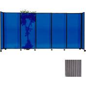 "Portable Sliding Panel Room Divider, 6'x11'3"" Polycarbonate, Gray"