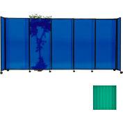 "Portable Sliding Panel Room Divider, 6'x11'3"" Polycarbonate, Green"