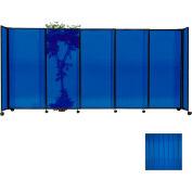 "Portable Sliding Panel Room Divider, 7'6""x15'6"" Polycarbonate, Blue"
