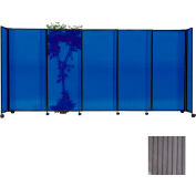 "Portable Sliding Panel Room Divider, 7'6""x15'6"" Polycarbonate, Gray"