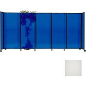 "Portable Sliding Panel Room Divider, 7'6""x15'6"" Polycarbonate, Opal"