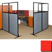 "Partition Panels with Windows - No Assembly, 70"", 1 Partition Panel, Red"