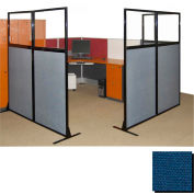 "Partition Panels with Windows - No Assembly, 70"", 2 Partition Panel, Navy Blue"