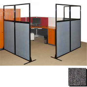 "Partition Panels with Windows - No Assembly, 70"", 2 Partition Panel, Charcoal Gray"