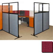 "Partition Panels with Windows - No Assembly, 70"", 2 Partition Panel, Cranberry"