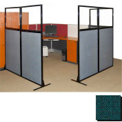 "Partition Panels with Windows - No Assembly, 70"", 2 Partition Panel, Forest Green"