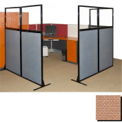 """Partition Panels with Windows - No Assembly, 70"""", 3 Partition Panel, Beige"""