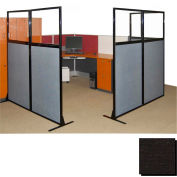 "Partition Panels with Windows - No Assembly, 70"", 3 Partition Panel, Black"