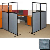 "Partition Panels with Windows - No Assembly, 70"", 3 Partition Panel, Powder Blue"