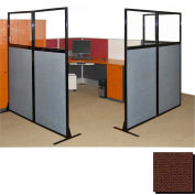 "Partition Panels with Windows - No Assembly, 70"", 3 Partition Panel, Chocolate Brown"