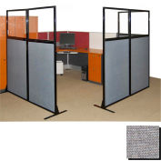"""Partition Panels with Windows - No Assembly, 70"""", 3 Partition Panel, Cloud Gray"""