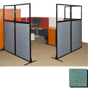 """Partition Panels with Windows - No Assembly, 70"""", 3 Partition Panel, Blush Green"""
