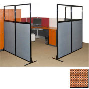 """Partition Panels with Windows - No Assembly, 70"""", 3 Partition Panel, Latte"""