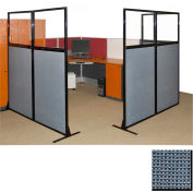 "Partition Panels with Windows - No Assembly, 70"", 3 Partition Panel, Ocean"