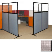 """Partition Panels with Windows - No Assembly, 70"""", 3 Partition Panel, Slate"""