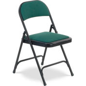 Virco 188 Steel Folding Chair, Black Frame With Green Fabric Upholstery Package Count 4