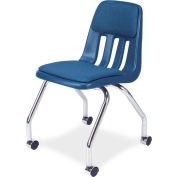 Virco® 9050p Classroom Chair W/ Casters And Padding, Blue With Chrome Frame - Pkg Qty 2
