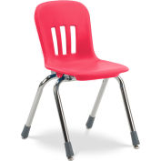 "Virco® N914 The Metaphor® Stacking Chair 14"", Red With Chrome - Pkg Qty 5"