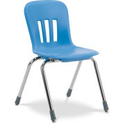 "Virco® N916 The Metaphor® Stacking Chair 16"", Blue With Chrome - Pkg Qty 4"