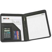 "Victor® Portfolio Pad Holder with 8-Digit Calculator, 9-1/2""W x 5/8""D x 12-1/2""H, Black"