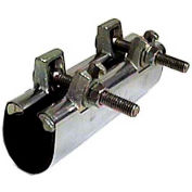 "Wal-Rich® 2206210 1-1/4"" x 6"" Two-Bolt Stainless Steel Wrap-Around Repair Clamps - Pkg Qty 12"