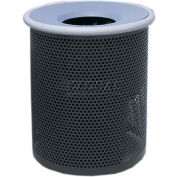 "Metal Waste Container W/Gray Aluminum Funnel Lid, 22"" Dia. X 28"" Black"